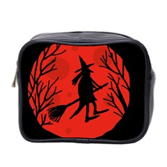 Halloween Witch   Red Moon Mini Toiletries Bag 2 Side by Valentinaart