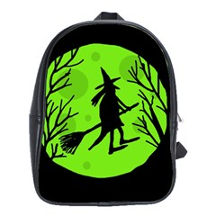 Halloween Witch   Green Moon School Bags(large)  by Valentinaart