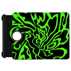 Green And Black Kindle Fire Hd Flip 360 Case by Valentinaart