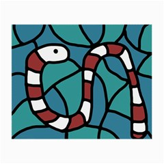 Red Snake Small Glasses Cloth (2 Side) by Valentinaart