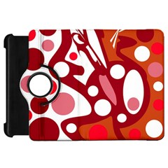 Red And White Decor Kindle Fire Hd Flip 360 Case by Valentinaart