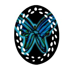 Blue Butterfly Ornament (oval Filigree)  by Valentinaart