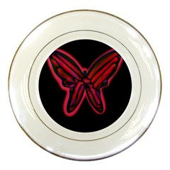 Red butterfly Porcelain Plates by Valentinaart