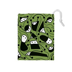 Playful abstract art - green Drawstring Pouches (Medium)  by Valentinaart