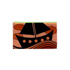 Boat   Red Cosmetic Bag (xs) by Valentinaart
