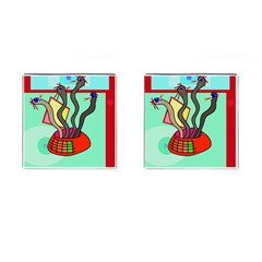 Dancing  snakes Cufflinks (Square) by Valentinaart