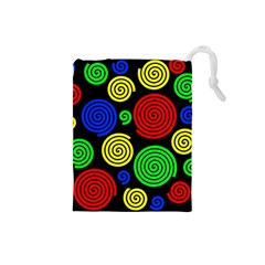 Colorful Hypnoses Drawstring Pouches (small)  by Valentinaart