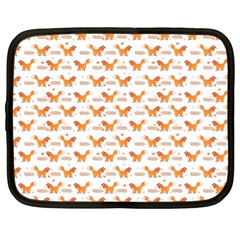 Fox And Laurel Pattern Netbook Case (xl)  by TanyaDraws