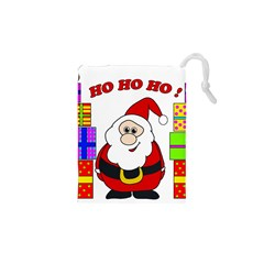 Santa Claus Pattern   Transparent Drawstring Pouches (xs)  by Valentinaart