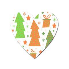 Christmas design - green and orange Heart Magnet by Valentinaart