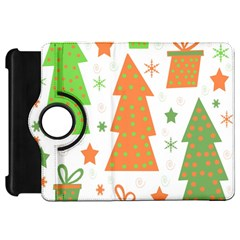 Christmas Design   Green And Orange Kindle Fire Hd Flip 360 Case by Valentinaart