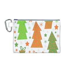 Christmas design - green and orange Canvas Cosmetic Bag (M) by Valentinaart