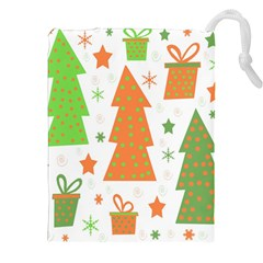 Christmas design - green and orange Drawstring Pouches (XXL) by Valentinaart