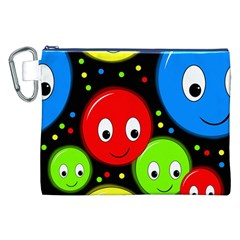 Smiley Faces Pattern Canvas Cosmetic Bag (xxl) by Valentinaart