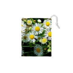 White Summer Flowers Oil Painting Art Drawstring Pouches (xs)  by picsaspassion