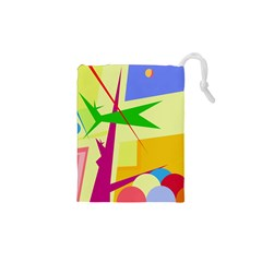 Colorful Abstract Art Drawstring Pouches (xs)  by Valentinaart