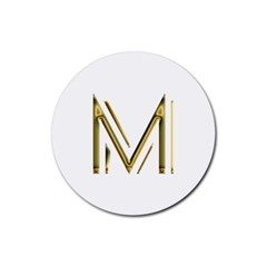 M Monogram Initial Letter M Golden Chic Stylish Typography Gold Rubber Round Coaster (4 Pack)  by yoursparklingshop