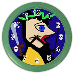 Warrior Color Wall Clocks by Valentinaart