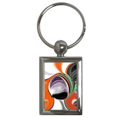 Abstract Orb In Orange, Purple, Green, And Black Key Chains (rectangle)  by theunrulyartist