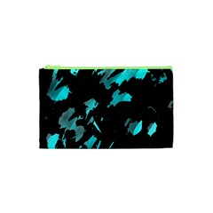Painter Was Here   Cyan Cosmetic Bag (xs) by Valentinaart