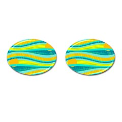 Yellow and blue decorative design Cufflinks (Oval) by Valentinaart