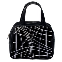 Black and white warped lines Classic Handbags (One Side) by Valentinaart