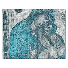Mother Mary And Infant Jesus Christ  Blue Portrait Old Vintage Drawing Rectangular Jigsaw Puzzl by yoursparklingshop