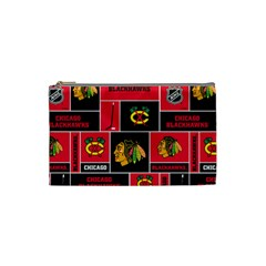 Chicago Blackhawks Nhl Block Fleece Fabric Cosmetic Bag (small)  by Onesevenart