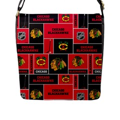 Chicago Blackhawks Nhl Block Fleece Fabric Flap Messenger Bag (l)  by Onesevenart
