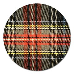 Fabric Texture Tartan Color  Magnet 5  (round) by AnjaniArt