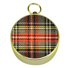 Fabric Texture Tartan Color  Gold Compasses by AnjaniArt