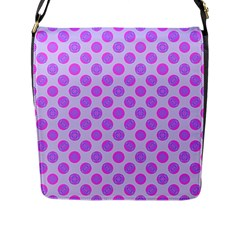 Pastel Pink Mod Circles Flap Messenger Bag (L)  by BrightVibesDesign