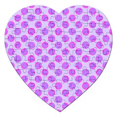 Pastel Pink Mod Circles Jigsaw Puzzle (heart) by BrightVibesDesign