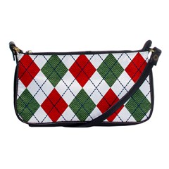 Red Green White Argyle Navy Shoulder Clutch Bags by AnjaniArt