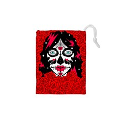 Sugar Skull Red Roses Drawstring Pouches (xs)  by burpdesignsA