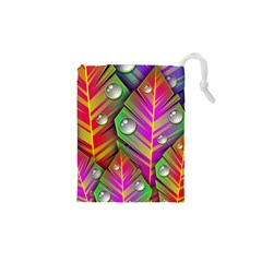 Bubbles Colorful Leaves Drawstring Pouches (xs)  by AnjaniArt