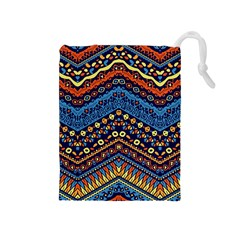 Cute Hand Drawn Ethnic Pattern Drawstring Pouches (medium)  by AnjaniArt