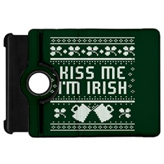 Kiss Me I m Irish Ugly Christmas Green Background Kindle Fire Hd Flip 360 Case by Onesevenart