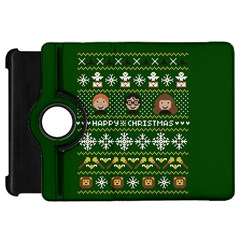 Merry Nerdmas! Ugly Christma Green Background Kindle Fire Hd Flip 360 Case by Onesevenart