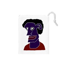 Man Portrait Caricature Drawstring Pouches (small)  by dflcprints