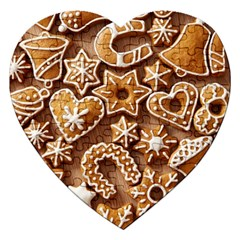 Christmas Cookies Bread Jigsaw Puzzle (heart) by AnjaniArt