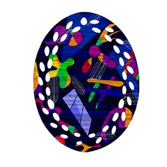 Colorful Dream Oval Filigree Ornament (2 Side)