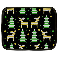 Decorative Xmas reindeer pattern Netbook Case (XXL)  by Valentinaart