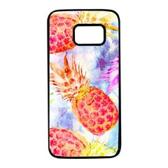 Colorful Pineapples Over A Blue Background Samsung Galaxy S7 Black Seamless Case by DanaeStudio