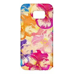 Colorful Pansies Field Samsung Galaxy S7 Edge Hardshell Case by DanaeStudio