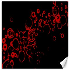 Abstraction Textures Black Red Colors Circles Canvas 16  X 16   by AnjaniArt