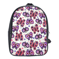 Pink Purple Butterfly School Bags (xl)  by AnjaniArt