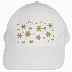 Gold Snow Flakes Snow Flake Pattern White Cap by Onesevenart