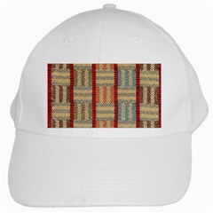 Fabric Pattern White Cap by Onesevenart