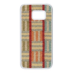 Fabric Pattern Samsung Galaxy S7 White Seamless Case by Onesevenart
